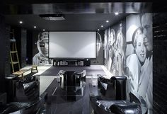 Themed home theatre with timeless large format images of timeless actors and actress adorning the walls
