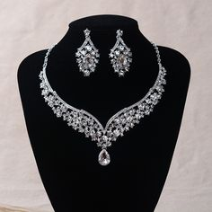 TL152 Luxury Crystal Jewelry Sets for Wedding Large Bridal Necklace Sets
