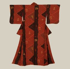 A thick and heavy silk kimono that features an extreme form of crepe that simulates a shibori. Late Taisho to early Showa period (1920-1940).The Kimono Gallery
