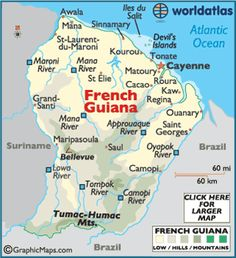 French Guiana is an overseas region of France, located on the northern coast of South America between Suriname and Brazil. Tahiti, French Guinea, French History, Thinking Day, South America Travel, France, Travel Maps, Historical Maps, Central America