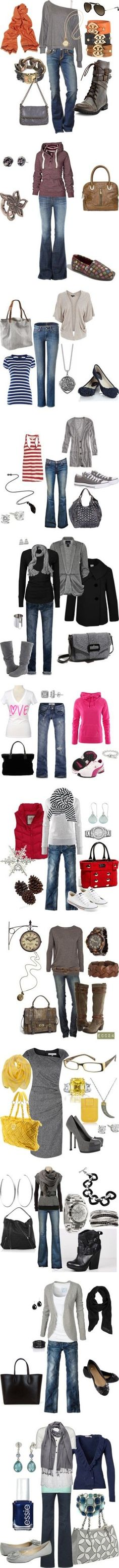 A fine wardrobe of jeans and occasional dressier outfits...lots of ideas!  KEY IS ACCESSORIES