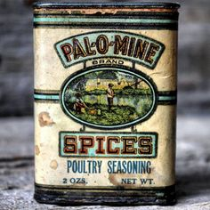 Pal-o-mine antique spice tin boy fishing vintage product photography poultry seasoning kitchen decor collector Spice Tins, Old Spice, Vintage Tins, Vintage Kitchen, Spice Containers, Boy Fishing, Poultry Seasoning, Old Signs, Tin Boxes