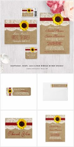 Sunflowers Burlap & Lace WEDDING SET COLLECTION Country Rustic Chic Pretty Personalized Red Ribbon & Sunflower Invites Announcements Invitations Postage Stamps Labels Stickers Thank You RSVP Cards & More!
