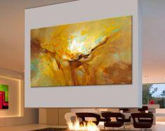 Peinture abstraite Large Ocre Brune Turquoise, bleu, vert, orange, xxl peinture moderne. Dimensions : 162 x 97 cm