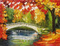 Öl-Park Original Gemälde Landschaft Bäume Hölzer Ahorn Autum rot gemacht Bestellung handgemachte Heimbüro Dekor bunt orange Kunst von Marchella