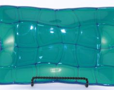 Dusty Turquoise and Denim Blue Wavy Retro Fused Glass Platter