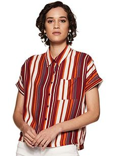 Amazon-Brand-Inkast-Denim-Co-Womens-Polka-Dot-Regular-Fit-Half-Sleeve-Shirt Half Sleeve Shirts, Half Sleeves, Shirt Sleeves, Crazy Fashion, All About Fashion, Buy Skirts Online, Indian Tunic Tops, Embroidered Kurti, Western Wear For Women