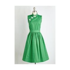 Vintage Inspired Long Sleeveless Fit & Flare Biographical Book Club... ($98) ❤ liked on Polyvore featuring dresses, apparel, fashion dress, green, long a line dress, vintage style dresses, long cotton dress, sleeveless fit and flare dress and long green dress