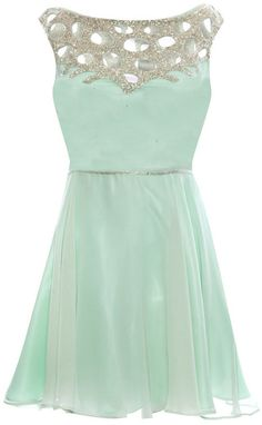 Mint Green Sequins Beaded Short Knee Length Bridesmaid  Prom Homecoming Dresses
