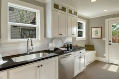 """Hooked on Houses"" Belvidere kitchen after renovation   The mudroom flows right into kitchen, hmm...."