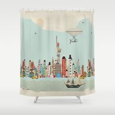 visit+new+york+Shower+Curtain+by+Bri.buckley+-+$68.00