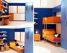 Small Place That Looks So Cool With The Bunk Beds For Small Spaces: Amazing Picture Small Spaces Bunk Beds Blue Color Design Wall Good Desk Nice Small Bedding Nice Picture Design Concepts ~ Bucga ☺ ☻ ☺ ☺