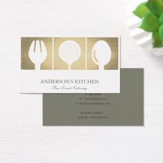 MINIMAL ELEGANT SILVER SKIMMER SPOON FORK CHEF BUSINESS CARD - customize create your own #personalize diy & cyo