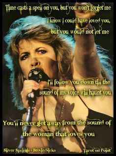 These are my favorite v Stevie Nicks lyrics.I like the growl in her voice in this part of the song. Stevie Nicks Lyrics, Stevie Nicks Quotes, Stevie Nicks Fleetwood Mac, Cultura Pop, Silver Springs Fleetwood Mac, Music Is Life, My Music, Music Stuff, Music