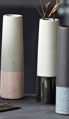 Vase TubeXS black / gray by House Doctor House Doctor, Pottery Vase, Ceramic Pottery, Scandinavian Vases, Vase Haut, Design Vase, Clay Pot Crafts, Wheel Thrown Pottery, Cylinder Vase