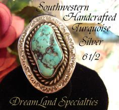 Vintage Jewelry Ring Sterling Silver Large Turquoise