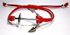 Anker Armband Makramee Rot Gewachste Baumwolle Cha von Geralin-Gioielli auf DaWanda.com