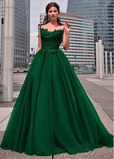 Showy Tulle Sweetheart Neckline Floor-length A-line Prom Dresses With Beaded Lace Appliques Showy Tulle Jewel Neckline Floor-length A-line Prom Dresses With Beaded Lace Appliques Green Wedding Dresses, A Line Prom Dresses, Formal Evening Dresses, Quinceanera Dresses, Dresses Uk, Ball Dresses, Pretty Dresses, Bridal Dresses, Beautiful Dresses