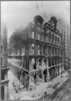 Icicle-covered ruins of Equitable Life Assurance Society building in New York City, 1912