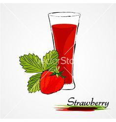 Strawberry juice on VectorStock