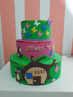 bolo masha e o urso fake eva Bolo Fake Eva, D N Angel, Bolo Fack, Birthday Cake, Desserts, Alice, Food, Tiered Cakes, Marsha And The Bear