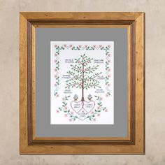 Celebrate your family with this heirloom inspired hand embroidered family tree. Vibrant greens, corals and blues combine harmniously with earthy russets and browns to create a very eye-catching design. Family Motto, Family Names, Lavender Sachets, Unique Gifts, Handmade Gifts, New Baby Gifts, Beautiful Hands, Gemstone Beads, Earthy