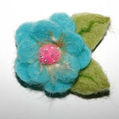 Aqua and Pink Felted Flower pin £6.50