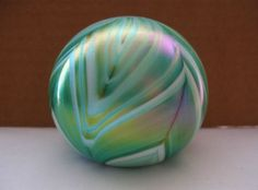 MIND BENDING Iridescent TEXTURAL Art Glass PAPERWEIGHT Green UNSIGNED has WEAR