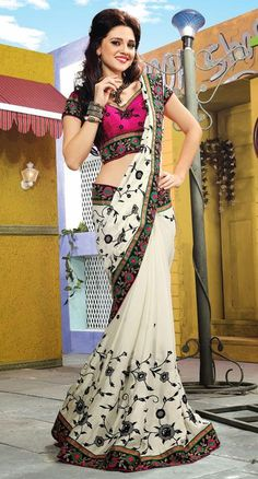 $91.26 White Embroidered Silk Saree 25745