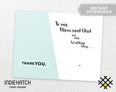 Parents thank you card Instant Download Cute Modern by IndieHatch