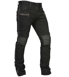 Slim fitting organic black denim jeans with leather stripes, leather reticulated knee joints, leather belt loops and leather piping around the pockets. Plus brass cast monkey skull zipper pull on the front pda pockets and custom signature brass button on the main zipper.