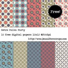 Free digital paper pack - Retro Polka Party