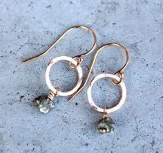 Gold Filled Pyrite Earrings. Small Pyrite Earrings by EverywhereUR, $46.00 #pyrite #gemstone #earrings #goldfilled #powerstone