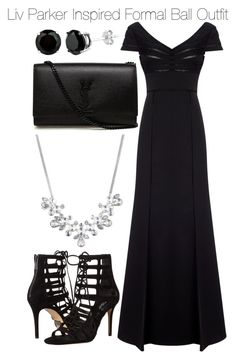 """""""Liv Parker Inspired Formal Ball Outfit"""" by staystronng ❤ liked on Polyvore featuring Adrianna Papell, Michael Kors, Givenchy, Yves Saint Laurent, formal, tvd, LivParker and balcktie"""