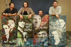 """Yesterday : Jensen, Jared, Misha, and Mark signing """"You Are Not Alone"""" canvas…"""
