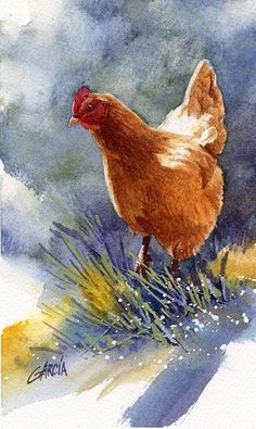 Red Hen by Joe Garcia Watercolor ~ 7 x 4.25: