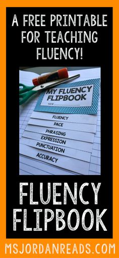 Fluency Flipbook for teaching and reviewing reading fluency in the classroom. Use it for small group instruction, fluency stations, literacy centers, interactive notebooks, reading notebooks, or to send home with students! | Subscribe for your FREE Fluency Flipbook!
