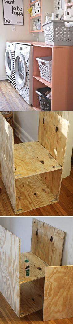 DIY Laundry Room Shelf Tutorial by DIY Ready at http://diyready.com/laundry-room-organization-ideas/