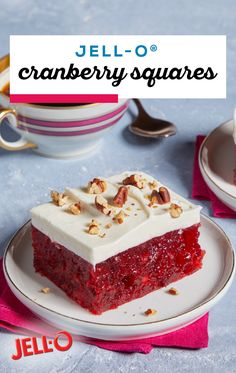 JELL-O® Cranberry Squares – Raspberry JELL-O®, cranberry sauce, pineapple, and a cream cheese topping all help bring this delicious dessert together. Try the recipe at your next special occasion. Dessert Salads, Jello Recipes, Köstliche Desserts, Christmas Desserts, Cookie Recipes, Delicious Desserts, Dessert Recipes, Jello Salads, Fruit Salads