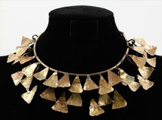 Could do something like this in polymer clay. Necklace | Xavier Gonzalez.  Brass and bronze.  ca. 1950s