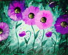 I am going to paint Violet Poppies at Pinot's Palette - Allen to discover my inner artist!