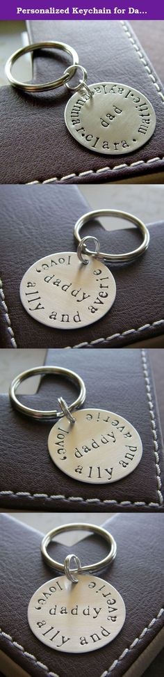 "Personalized Keychain for Dad - Custom Hand Stamped Sterling Silver Key Chain - Father's Day Gift. This personalized key chain makes a perfect gift for dad! A 1"" sterling silver disc is stamped with ""dad"" or ""daddy"" in the middle with names along the curve, and attached to a 24 mm silver plated key ring. You can personalize it with an initial, a monogram, or any words of your choice in the middle. You can also add names, phrases or message along the curve. It could fit 22 spaces in the…"