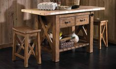 Kincaid solid oak butcher block island and stools