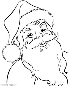 Christmas coloring book page - Santa Face 2