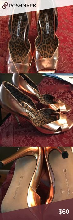 Manolo blahnik  women bronze peep toe shoes sz 38 Women manolo blanhink peep toe shoe size 38 in great shape Manolo Blahnik Shoes Heels
