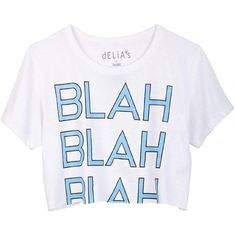 Blah Blah Blah Crop Tee ❤ liked on Polyvore featuring tops, t-shirts, shirts, crop tops, clothingshirts & tops, delias t shirts, t shirt, shirt top, lightweight t shirts and shirt crop top