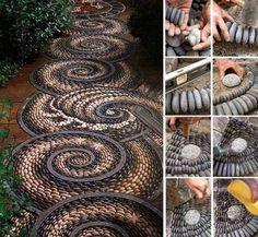 DIY Spiral-Rock-Mosaic-Path -> http://www.fabartdiy.com/how-to-diy-swirl-pebble-mosaic-garden-path/ #DIY, #garden, #design, #mosaic, #pebble stone