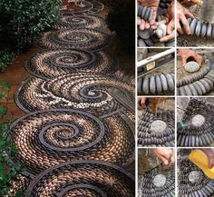 Wonderful DIY Spiral Rock Mosaic Path