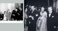 """Από την τελετή στη Βιέννη απονομής στον Νίκο Καζαντζάκη του Βραβείου της Ειρήνης. Δεξιά του, η Ελένη. 28.6.1956.  Δεξιά : Από την πρεμιέρα στις Κάννες της ταινίας του Jules Dassin """"Εκείνος που πρέπει να πεθάνει"""", βασισμένης στο μυθιστόρημα Ο Χριστός ξανασταυρώνεται. Ο Νίκος Καζαντζάκης με την Ελένη και ο Ντασέν με τη Μελίνα Μερκούρη. Απρίλιος 1957. Πηγή: www.lifo.gr"""