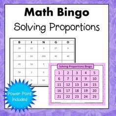 Solving Proportions Bingo aka equivalent fractions or ratios.